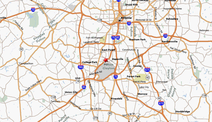 Map to Atlanta Air Center